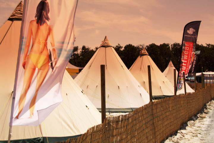 Tipi-style tents surf camp - Feral Surf Tours & Camp