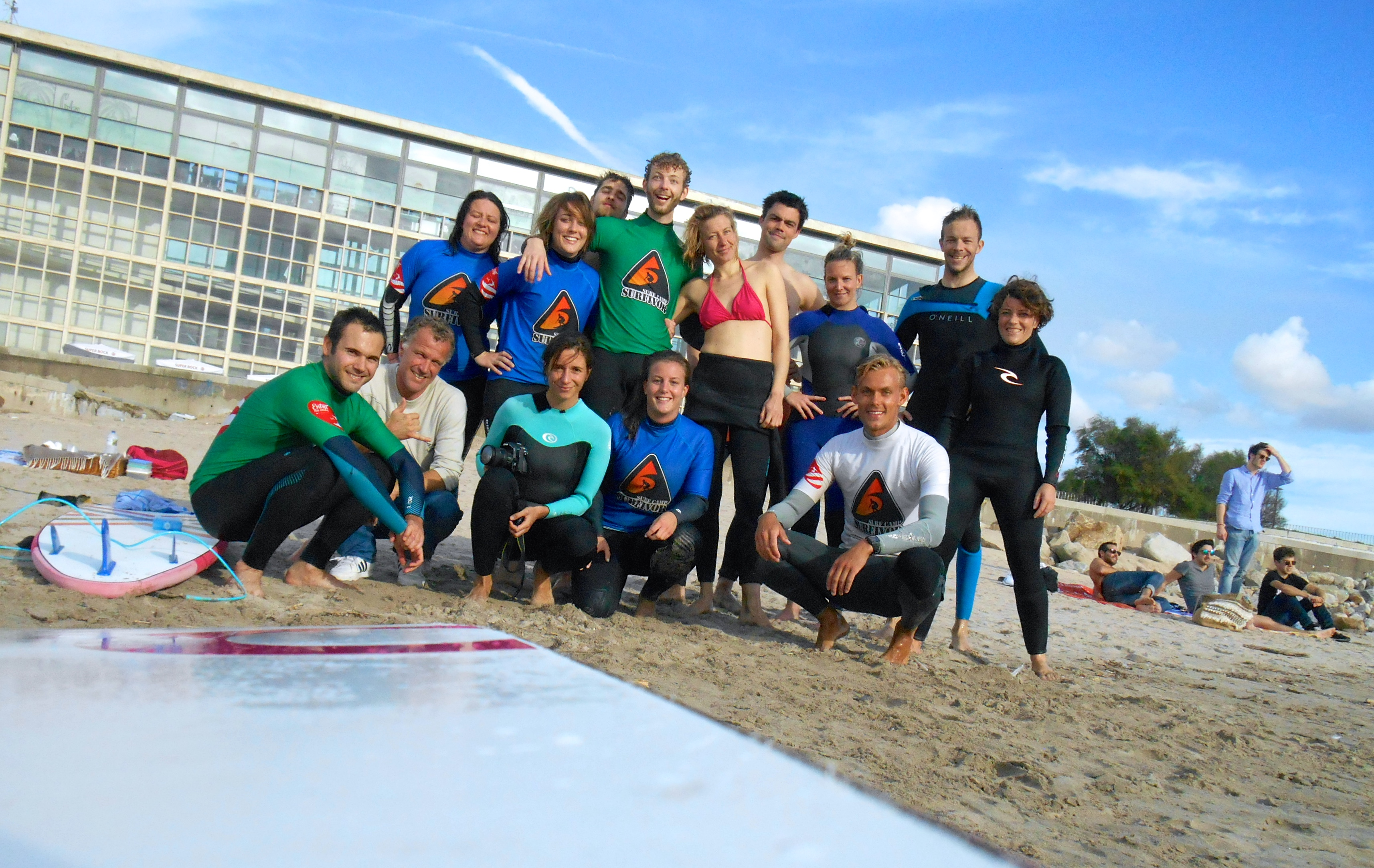 Group surf lessons at Porto Hostel